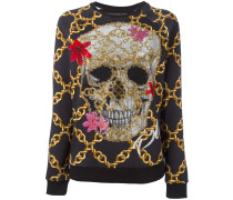 Sweatshirt mit verziertem TotenkopfPrint