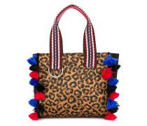 tassel detail leopard print tote bag