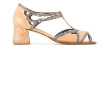 bicolor heeled sandals