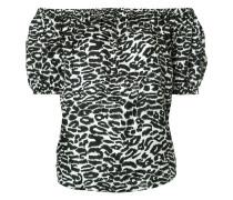 Schulterfreie Bluse mit Leoparden-Print