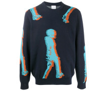 crew neck abstract knitted jumper