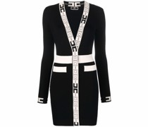 logo-trim fitted knitted mini dress