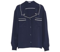 contrast-embroidery buttoned blouse
