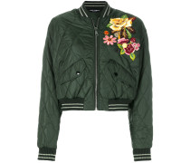 flower applique bomber jacket