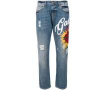 embellished heart logo jeans