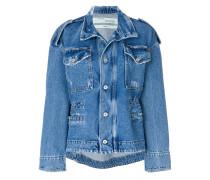 faded print denim jacket
