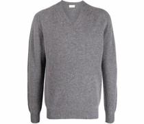 Fein gestrickter Pullover mit V-Ausschnitt