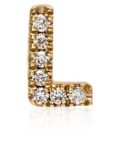 18kt 'L' Gelbgoldanhänger mit Diamanten