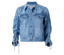 gathered sleeve denim jacket