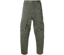 zip front tapered trousers