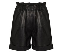 paperbag-waist leather shorts