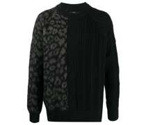 leopard-panelled cable-knit jumper