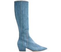 Kniehohe Stiefel - women - Baumwolle/Leder