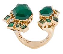 18kt 'Crystal Haze' Gelbgoldring mit Achat, Turmalinen, Smaragden und Diamanten