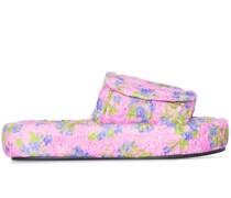Velours-Pantoletten mit Blumenstickerei