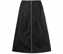 zip-up A-line midi skirt