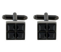 square crystal-embellished cufflinks