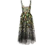 Kleid mit Blattstickerei