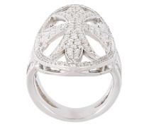 18k Weißgoldring mit Diamanten auf Malteserkreuz