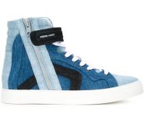 High-Top-Sneakers mit Jeansbesatz