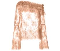Semi-transparente Bluse mit gerüschtem Ausschnitt