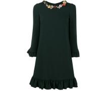 embellished collar ruffle hem dress