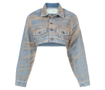 Cropped-Jeansjacke mit langen Ärmeln