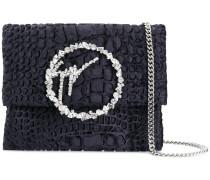 crocodile embossed embellished buckle bag