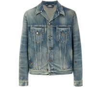 tiger-embroidered denim jacket