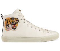 High-Top-Sneakers mit Tigerstickerei