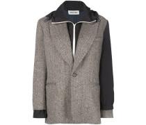 herringbone layered hooded blazer