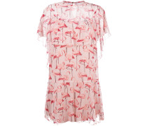 Seidenkleid mit Flamingo-Print