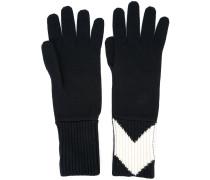 Gerippte Intarsien-Handschuhe