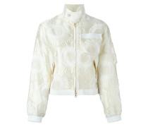 floral applique zip up cropped jacket