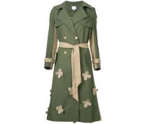 floral appliqué trench coat