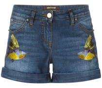 Jeans-Shorts mit Vogelstickerei