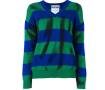 Pullover mit Trompe-l'œil-Print