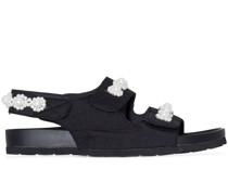 pearl-embellished slingback sandals