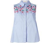 Ärmellose Bluse mit Blumenapplikationen