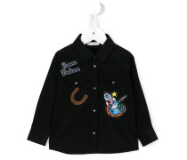good luck patch embroidered shirt