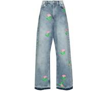 Weite Jeans mit Rosen-Print