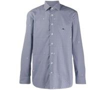 chain print button-up shirt