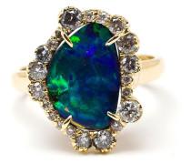 18kt Gelbgoldring mit ungeschliffenem Opal und Diamanten