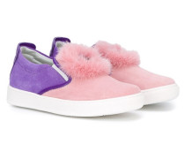 Slip-On-Sneakers mit 'Bag Bugs'-Fuchspelzdetail