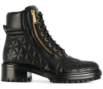 quilted lace-up ankle boots