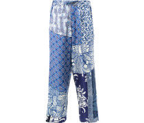 Seidenhose in Patchwork-Optik