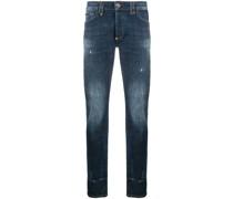 Gerade Jeans mit Totenkopf