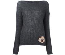 Pullover mit aufgesticktem Katzenmotiv