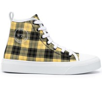 check-print lace-up sneakers