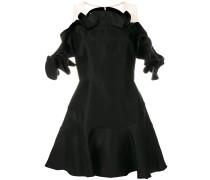satin ruffle trim dress